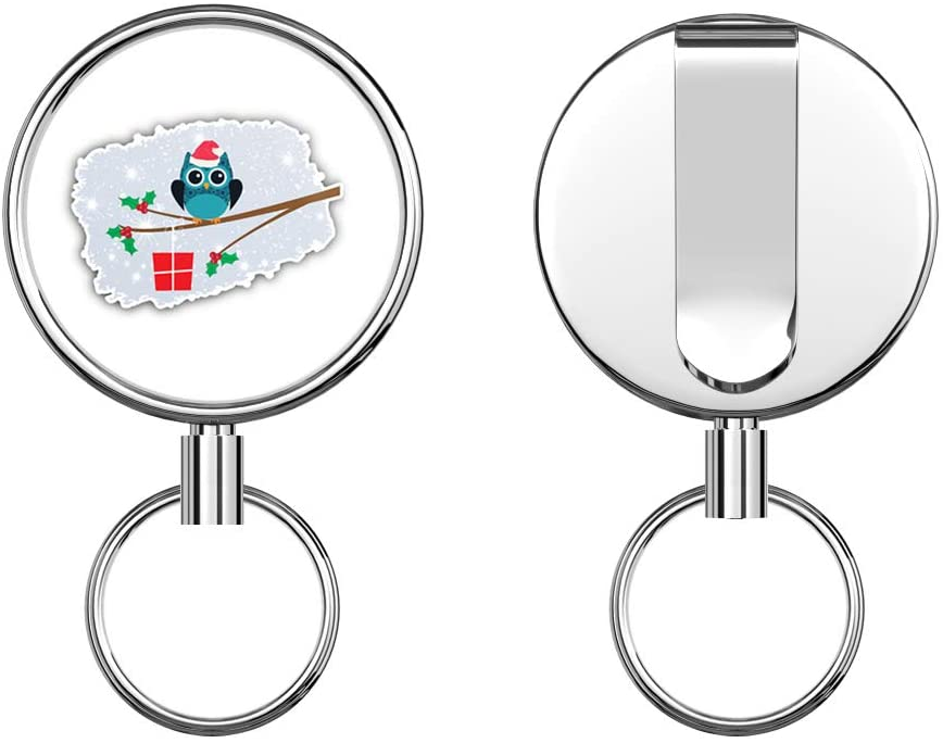 Christmas Owl Retractable Badge Holder Reel Metal ID Badge Holder with Belt Clip Key Ring for Name Card Keychain