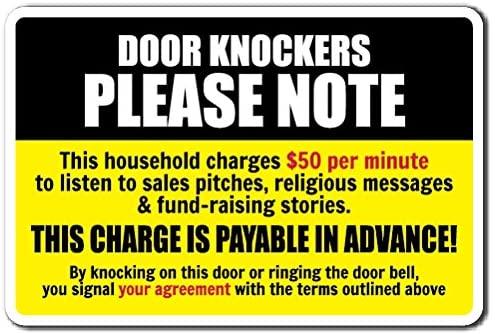 Door KNOCKERS Please Note Aluminum Sign Warning solicitation Home   Indoor/Outdoor   10