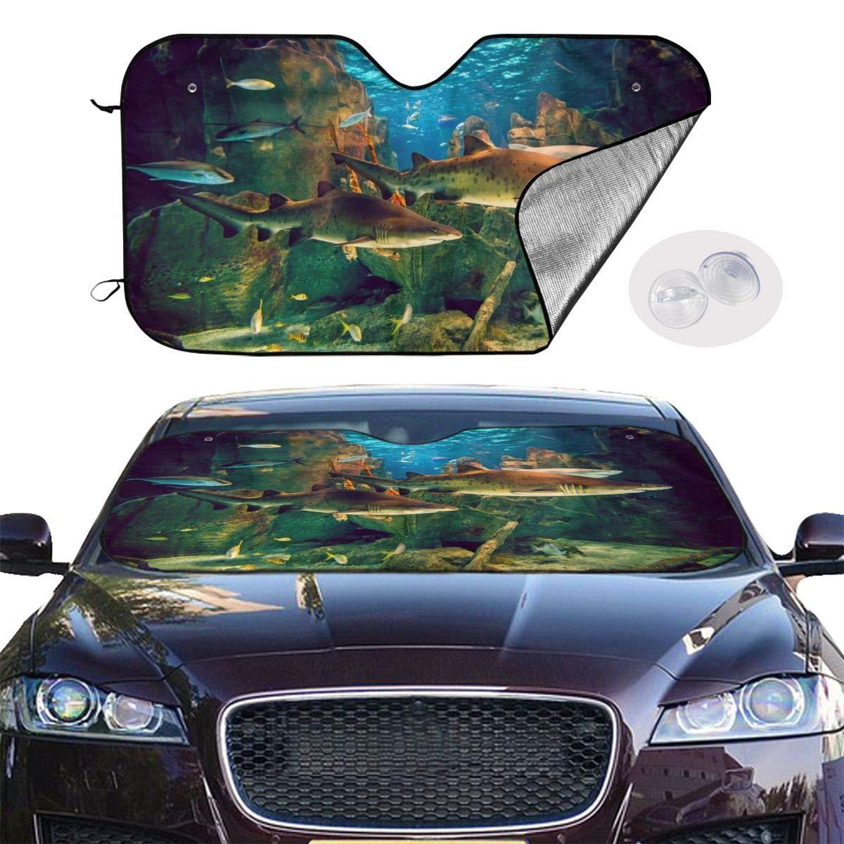 水族館 サメ Car Sunshade Window Windscreen Cover,Automotive Window Protector Sunshade Uv Sun and Heat Reflector for Car Truck SUV,Keep Your Vehicle Cool and Damage Free