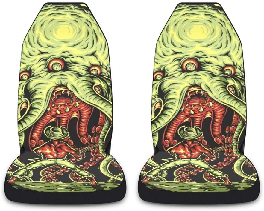 CUXWEOT Monster Octopus Cowboy Car Seat Covers for Front Set of 2 Vehicle Seat Protector Car Pet Mat Fit Most Car,Truck,SUV,Van