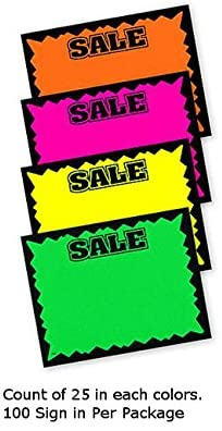 Single Sided Small Sale Sign Card in Multicolor 5.5 H x 7 W Inch - Lot of 100
