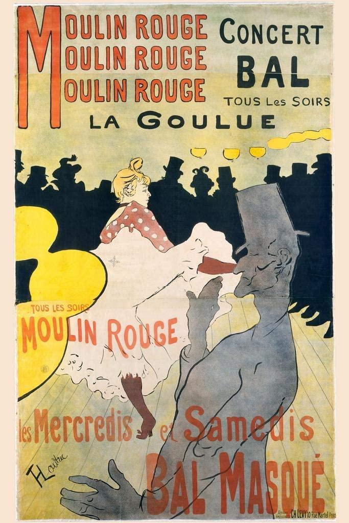 Moulin Rouge Masked Ball Dance Paris France Toulouse Lautrec Vintage Style Nouveau French Laminated Dry Erase Sign Poster 12x18