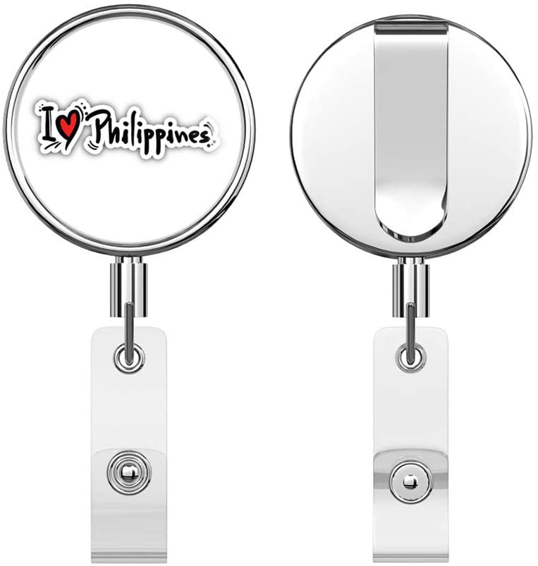 I Love Philippines Slogan Round ID Badge Key Card Tag Holder Badge Retractable Reel Badge Holder with Belt Clip