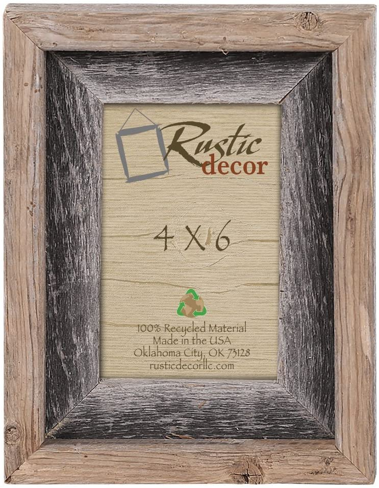4x6-2 Wide Signature Reclaimed Rustic Barn Wood Picture Frame