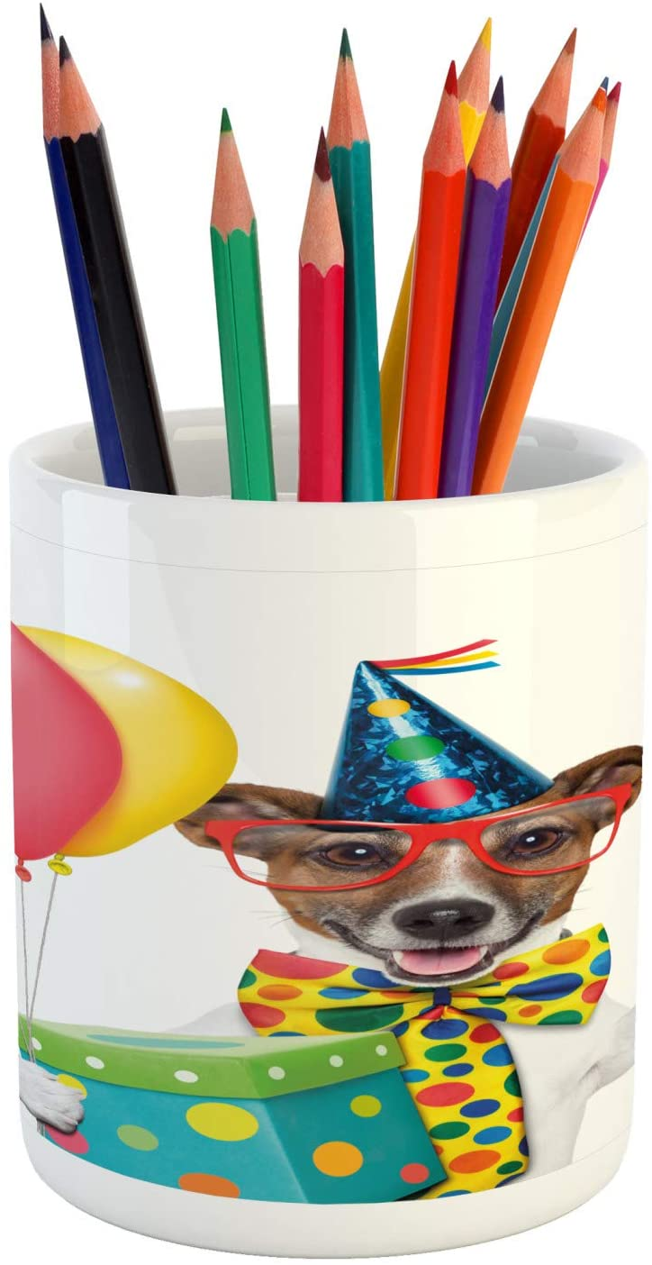 Ambesonne Birthday Party Pencil Pen Holder, Waiter Server Party Dog with Hat Cone Cupcake Balloons Celebration Boxes, Printed Ceramic Pencil Pen Holder for Desk Office Accessory, Multicolor
