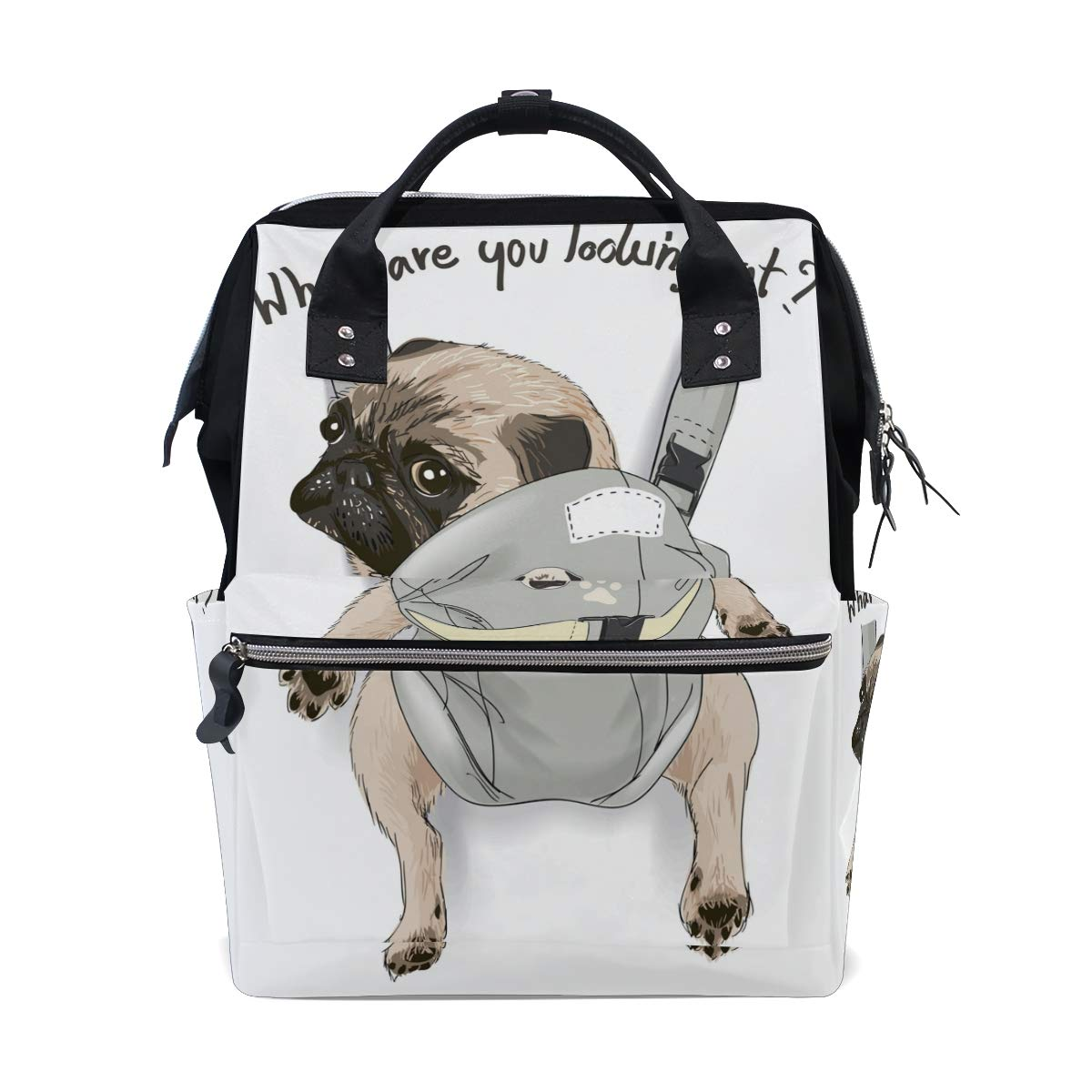 MERRYSUGAR Diaper Bag Backpack Travel Bag Large Multifunction Waterproof Cute Puppy Dog Pug Funny White Stylish and Durable Nappy Bag for Baby Care School Backpack