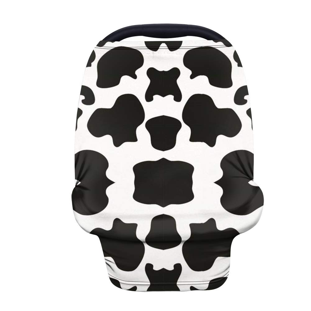 INSTANTARTS Nursing Breastfeeding Cover Cow Printed Baby Car Seat Covers,Dustproof Windproof Infant Stroller Cover,Carseat Canopy for Girls & Boys - Black and White