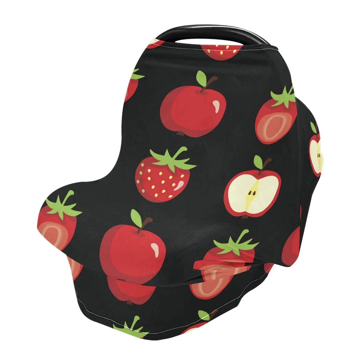 Strawberry and Apples Nursing Cover Car Seat Covers Breastfeeding Scarf for Babies Infant Stretchy Soft Breathable Multi-Use Cover Ups, Gift for Boys Girls