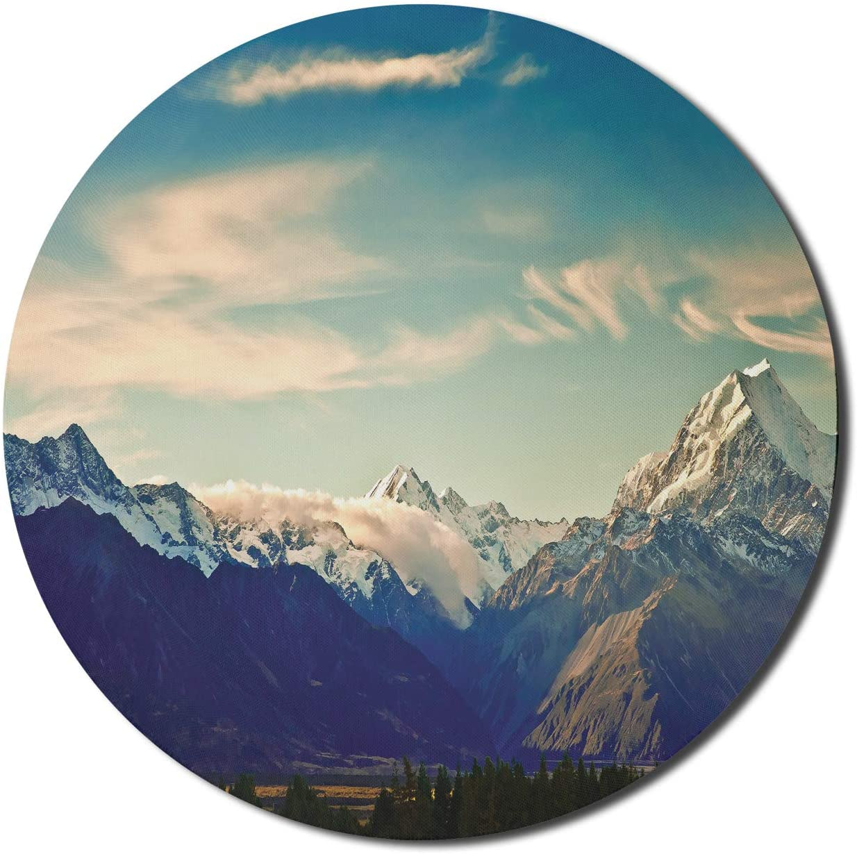 Lunarable Nature Mouse Pad for Computers, New Zealand Scenic Mountain Shot at Mount Cook National Park Alpine Panorama, Round Non-Slip Thick Rubber Modern Gaming Mousepad, 8