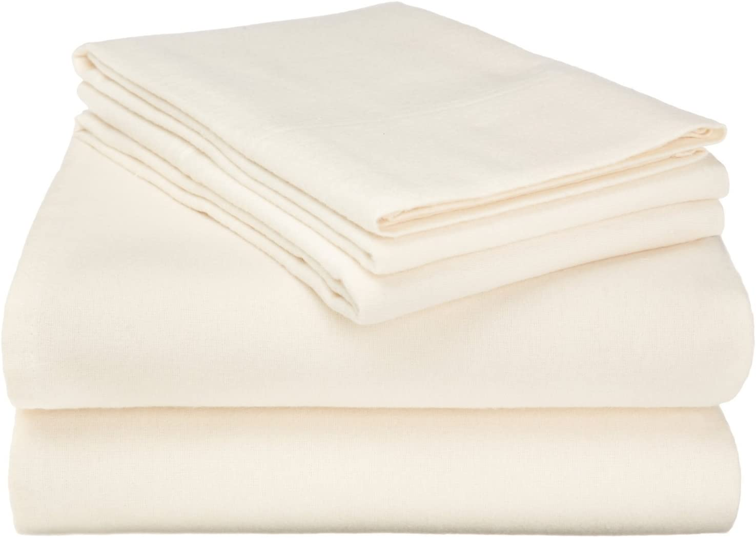 Superior Premium Cotton Flannel Sheets, All Season 100% Brushed Cotton Flannel Bedding, 4-Piece Sheet Set with Deep Fitting Pockets - Ivory Solid, King Bed