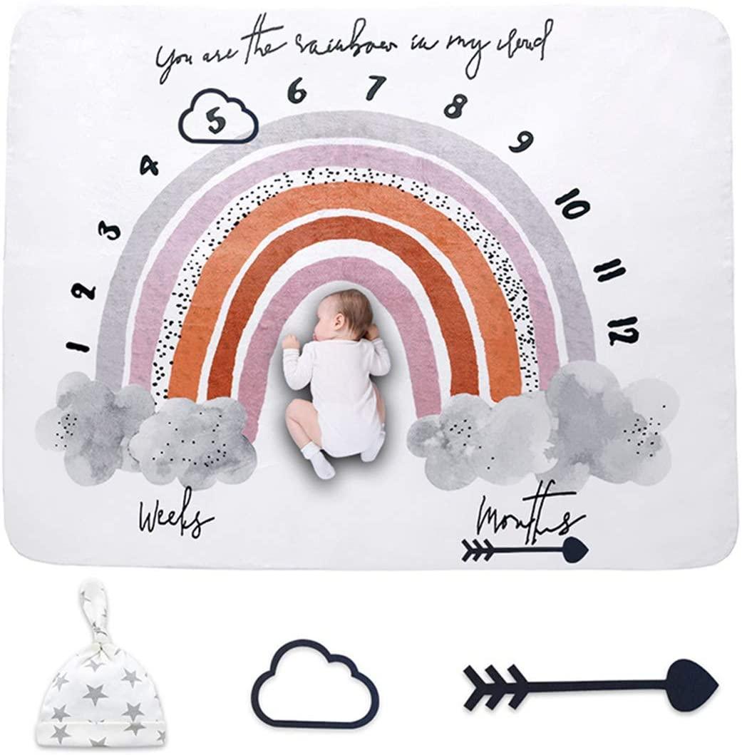 HelloCreate Baby Milestone Blanket, Baby Monthly Milestone Blanket Newborn Costume Photography Backdrop Swaddle Blanket
