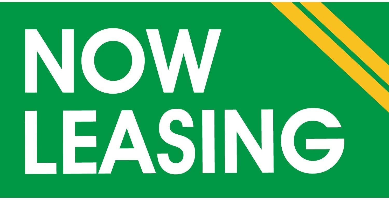 HALF PRICE BANNERS | Now Leasing Vinyl Banner -Indoor/Outdoor 4X8 Foot -Green White | Includes Zip Ties | Easy Hang Sign-Made in USA