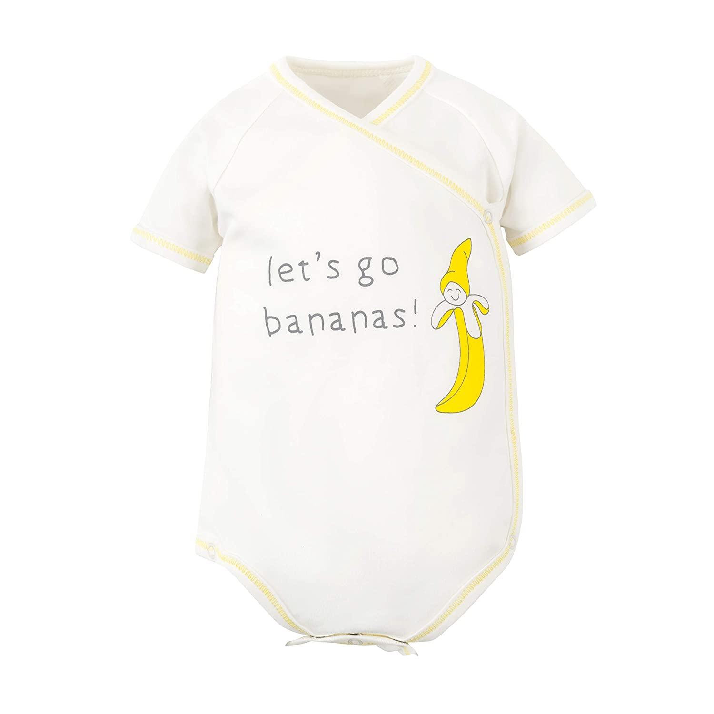 Under The Nile Organic Cotton Unisex Baby Banana Print Short Sleeve Side Snap Bodysuit, 3-6m