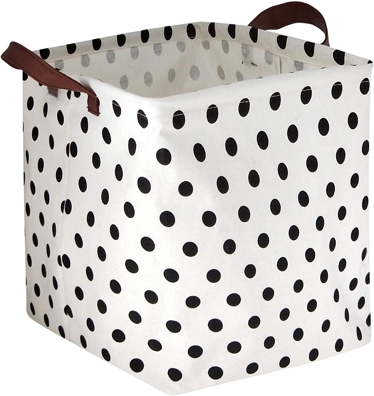 HIYAGON Square Storage Bins,Storage Baskets,Canvas Fabric Storage Boxes,Foldable Nursery Basket for Clothes,Books,Shelves Baskets,Gift Baskets,Home Organization,Room Decor(Dots)