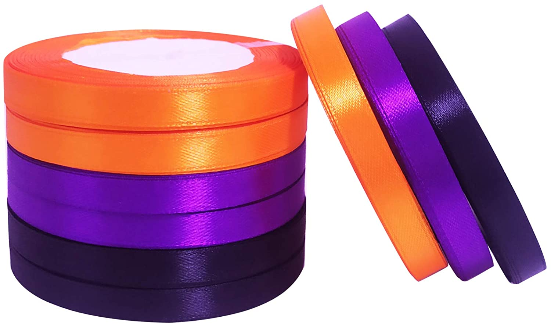 Llxieym Halloween Satin Ribbon Gift Wrapping Ribbon for Halloween Crafts Decoration DIY Supplies, 0.39 Inch Wide (Black, Orange, Purple)