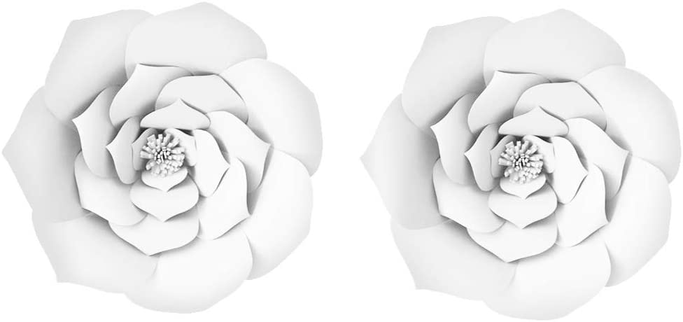 LG-Free 2pcs 16inch Paper Flower Backdrop Decorative Paper Flower Hanging Rose Flower Balls DIY Paper Handmade Craft for Wedding,Baby Shower,Birthday,Party Decorations,Home (2pcs, 16inch-White)