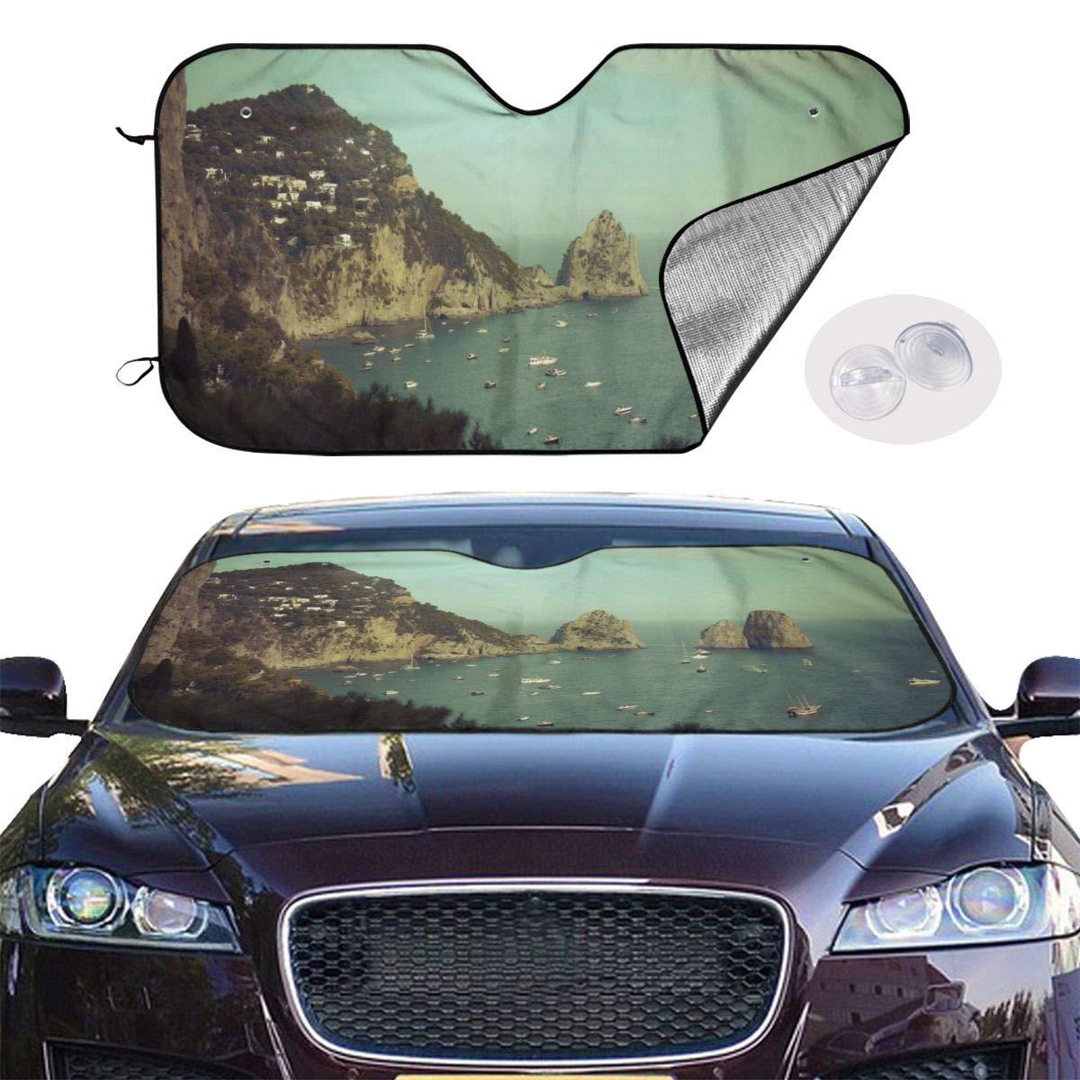 Amalphi Coast,Capri Italy Car Sunshade Window Windscreen Cover,Automotive Window Protector Sunshade Uv Sun and Heat Reflector for Car Truck SUV,Keep Your Vehicle Cool and Damage Free