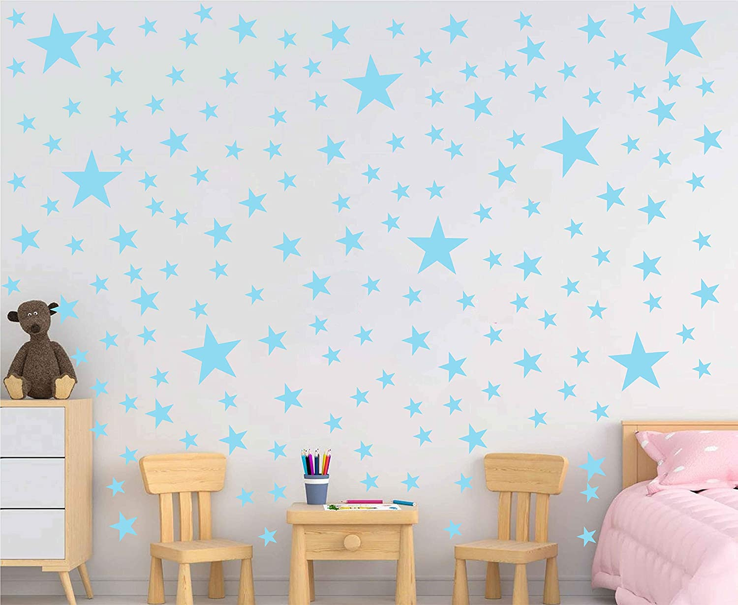 Melissalove 174pcs Mixed Size Star Wall Stickers Home Decor Bedroom Removable Nursery Wall Decals Kids DIY Art Decal Gold White Black Star Wall Sticker JW343 (Canal Blue)