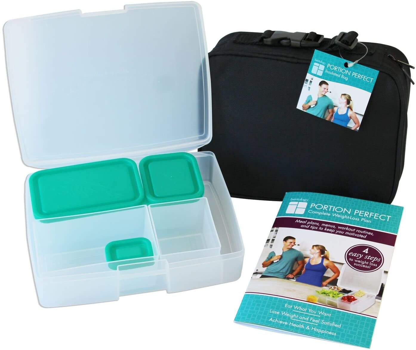 Bentology Lunch Bag with Bento Box - Includes Insulated Lunchbox Tote, 5 Portion Control Containers and Portion Control Guide