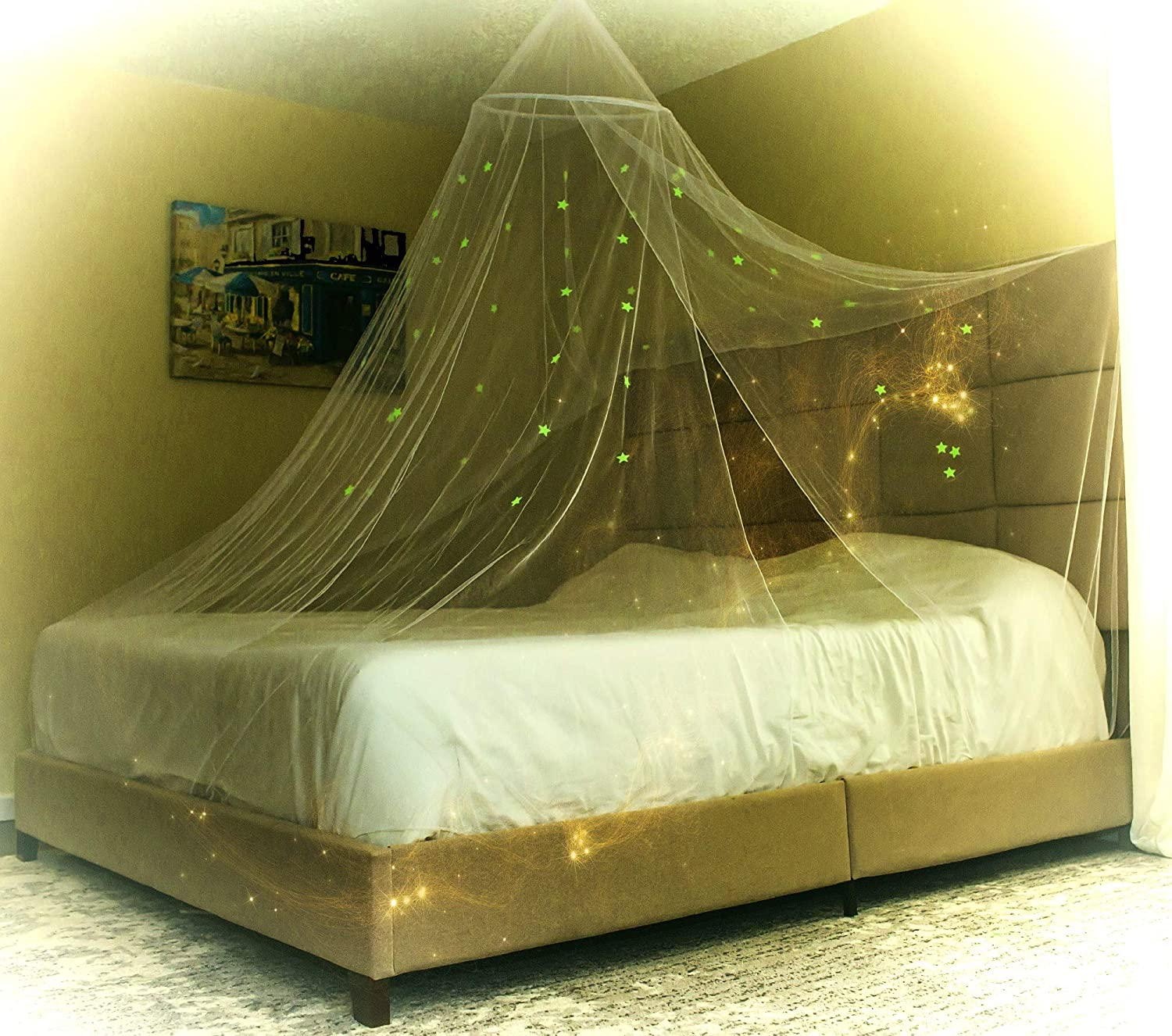 Selqual Bed Canopy for Calm and Carefree Nights. Bed Curtain Easy and Safe to use, Convenient for Crib to Full-Size Bed. Glowing Stars Create a Charming Decor and Solve Fear of The Dark Issues.