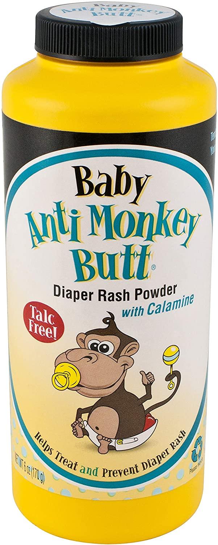 Anti Monkey Baby Butt Diaper Rash Powder with Calamine 6 oz (2 Pack)