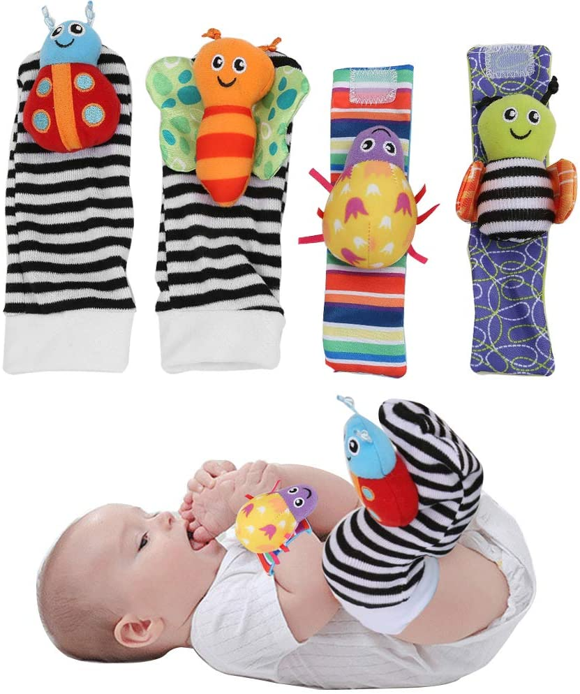 Wrist Rattles Toy, Baby Socks Toys, Sock Hanging Toy Infant Baby Cute Lovely Soft Baby Socks Toys Wrist Rattles Infant Toy(Baby Wrist Strap)