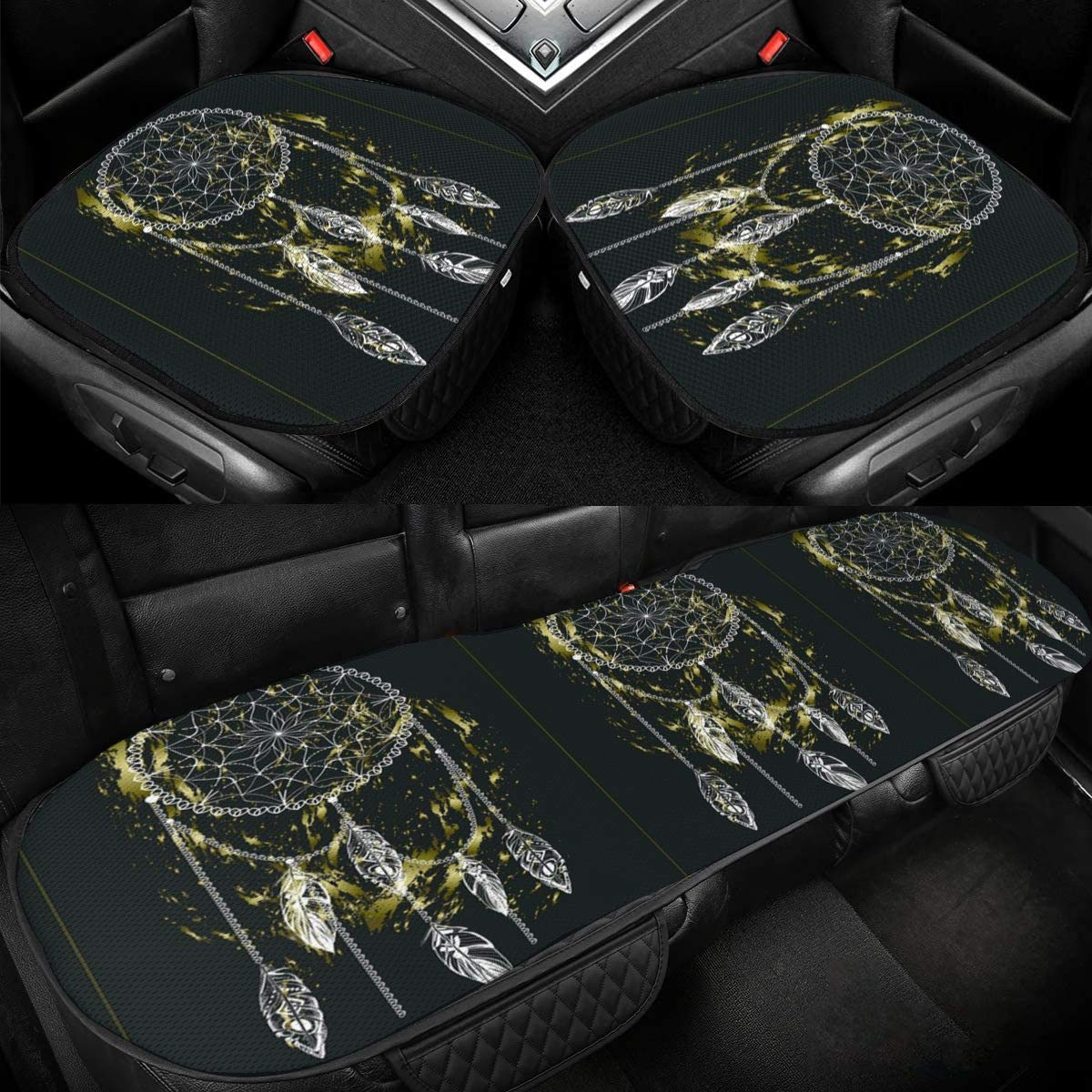 Dream Catcher with Feathers Car Ice Silk Seat Cushion Pad 3 Pieces Sets Comfort Seat Protector for Car Driver Seat Office Chair Home Use Seat Cushion