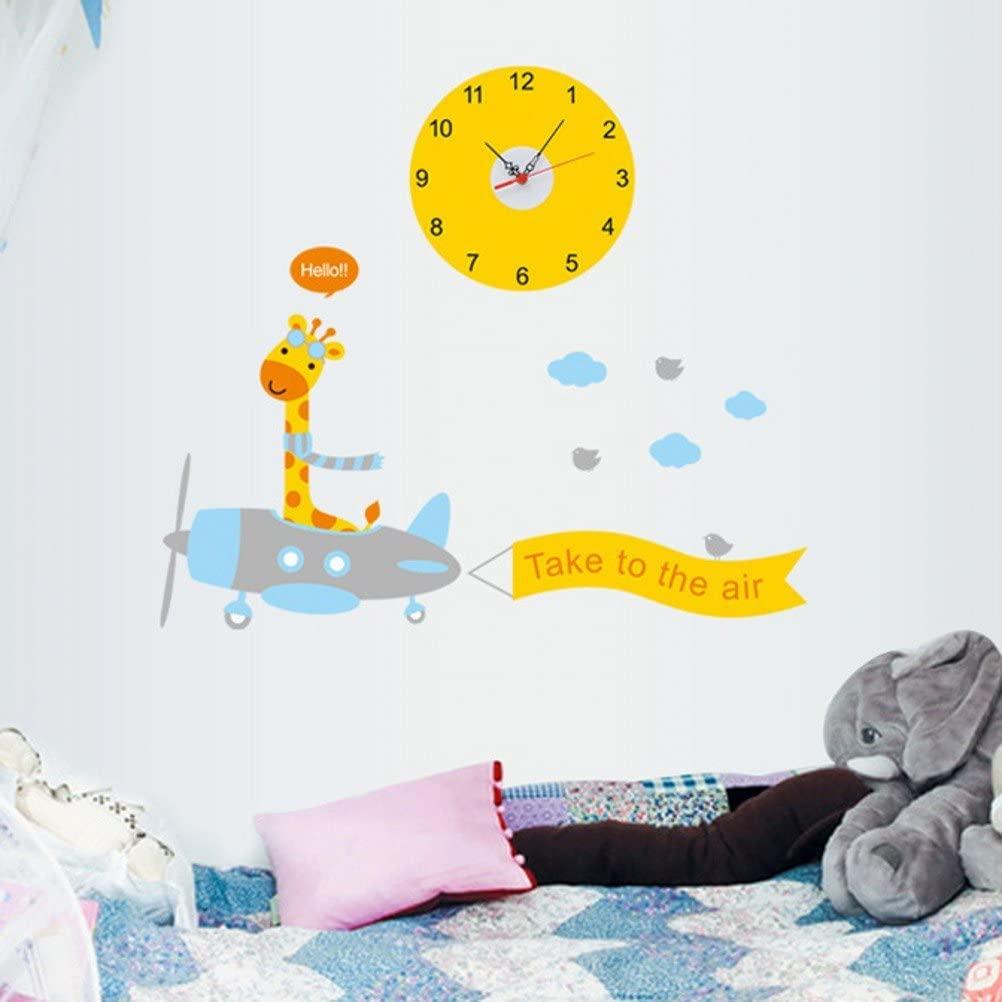 Funif Cute Cartoon Clock Wall Sticker Decal DIY Wall Murals For Kids Room Decoration Giraffe ellow 11.8