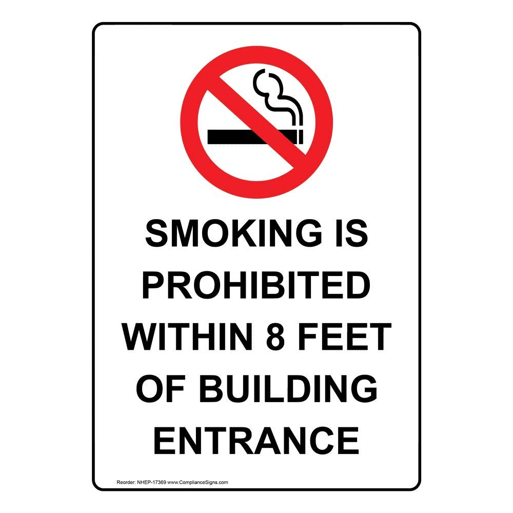 Vertical Smoking is Prohibited Within 8 Feet of Building Entrance Label Decal, 5x3.5 in. 4-Pack Vinyl for No Smoking by ComplianceSigns