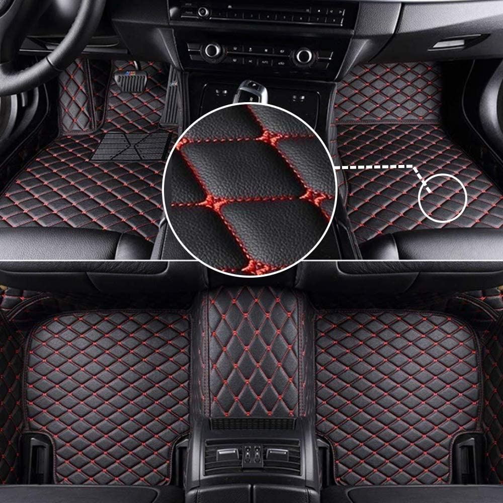 MyGone Car Floor Mats for Volkswagen Passat B7/B8 2011-2018 2012 2013 2014 2015 2016 2017, Leather Floor Liners - Custom Fit Waterproof, Front Rear Row Full Set Black with Red Stitch