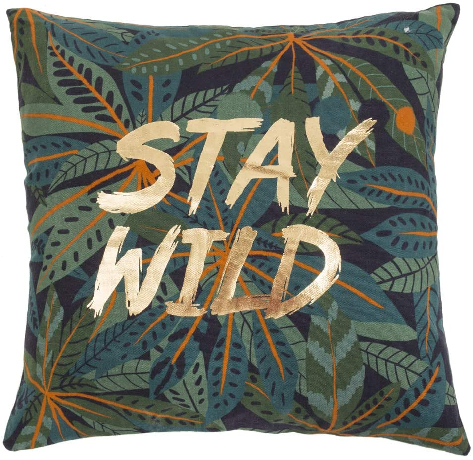Chumbak Stay Wild Printed Cushion Cover - Decorative Cushion Cover, Home Essential, Throw Pillow Covers for Couch and Bedroom, Soft Cotton Covers, Living Room Cushion Covers, 15.9