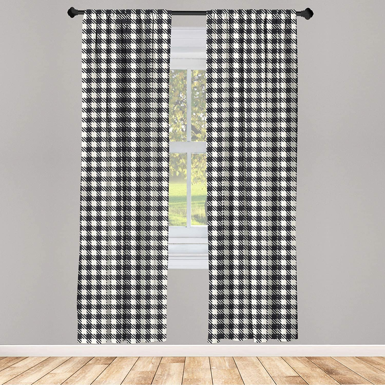 Ambesonne Checkered Curtains, Diagonal Stripes Squares Monochrome Sketchy Geometric Grid Revival Tile, Window Treatments 2 Panel Set for Living Room Bedroom Decor, 56