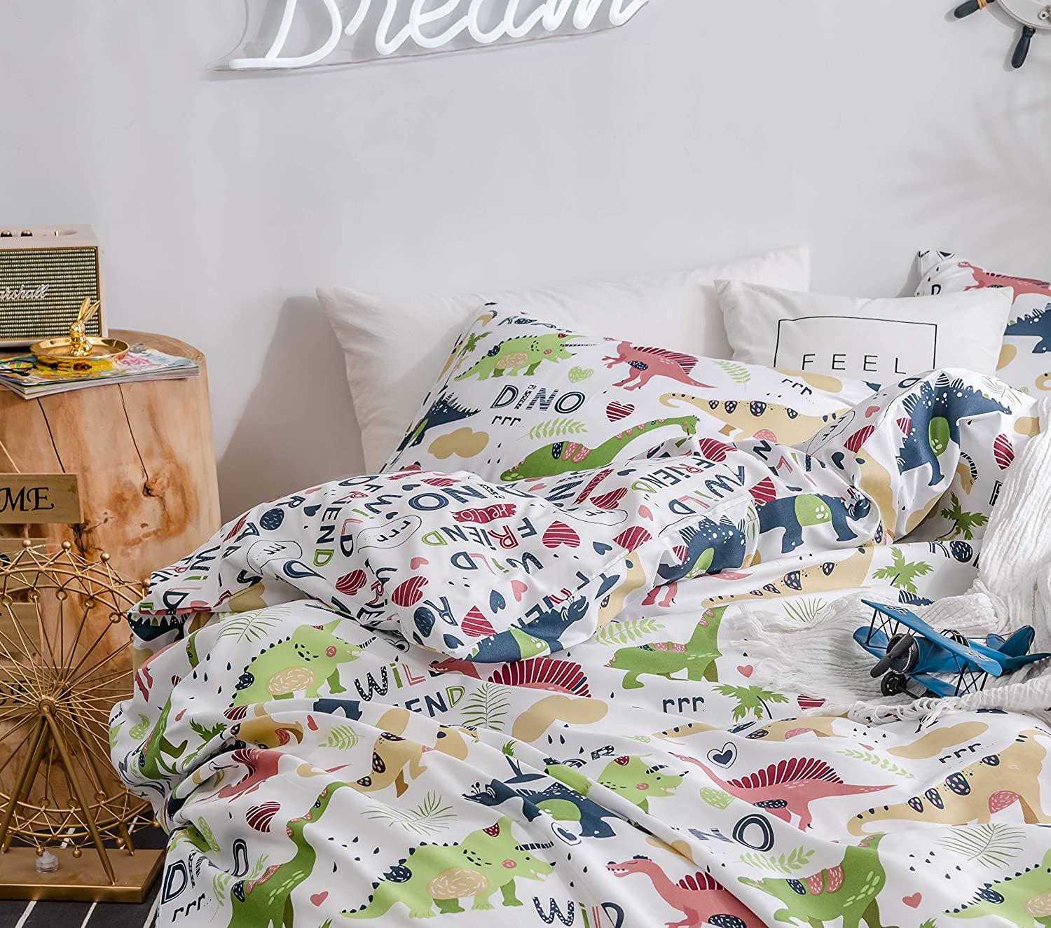 Duvet Cover Set for Boys Girls King Bedding Set with Pillow Shams Dinosaur Park Jurassic T-Rex Dino Comforter Cover Zipper Closure and Ties 3 Pieces King White