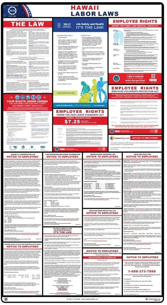 2020 Hawaii Labor Law Poster, 44.5 x 24 in. with White Header by ComplianceSigns