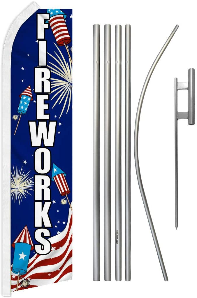 Infinity Republic - Fireworks USA Banner Swooper Flag & Pole Kit - Perfect for Businesses, Fairs, Events, Stores, etc!
