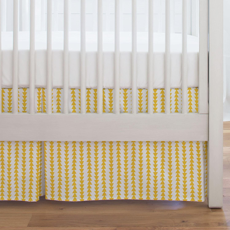 Carousel Designs Saffron Arrow Stripe Crib Skirt Single-Pleat 17-Inch Length - Organic 100% Cotton Crib Skirt - Made in The USA