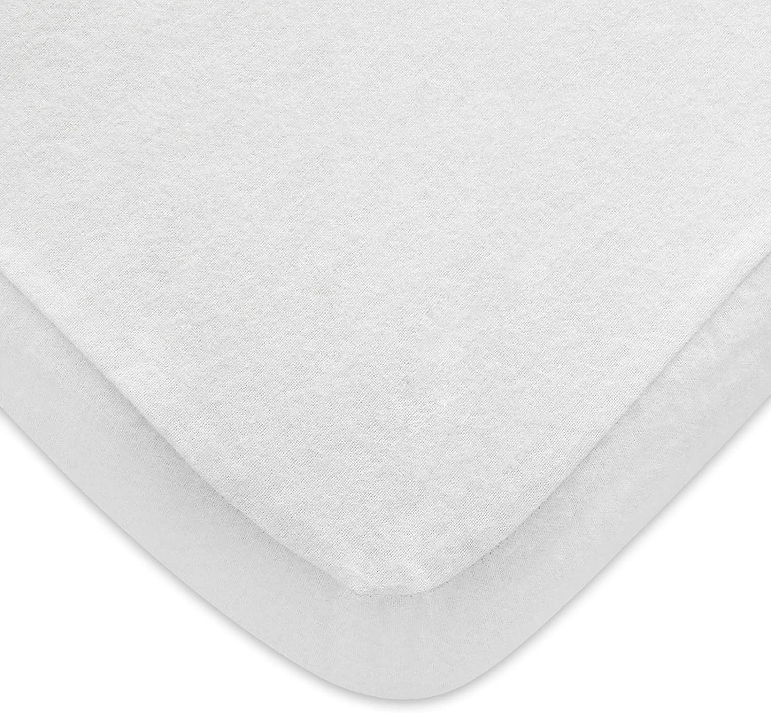 100% Cotton Flannel Pack N Play Sheet, Fitted Portable Mini Crib Sheet for Girls Boys, Ultra Soft Breathable Convertible Playard Mattress Cover, Playard Playpen Sheet, White