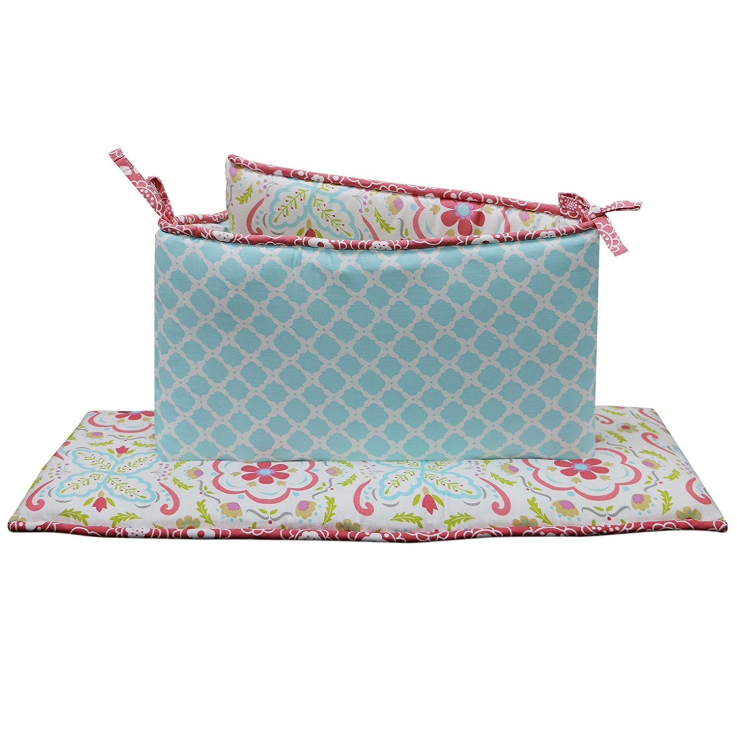 Mila 4 Piece Coral and Blue Floral and Ogee Crib Bumper by Peanut Shell