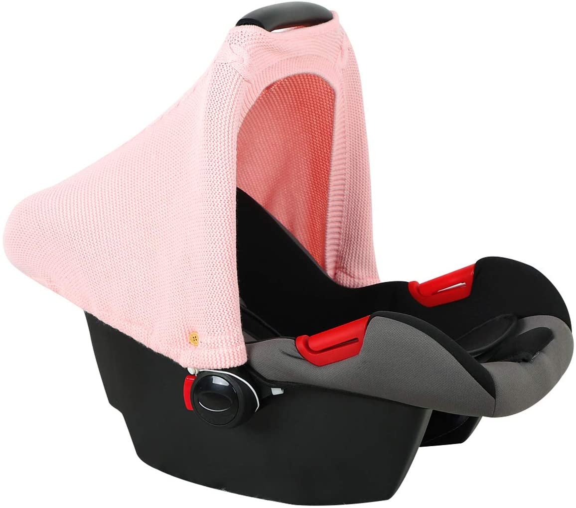 Gojiny Baby Car Seat Cover 180 Degree Coverage Soft Knit Stretchy Infant Stroller Cover Breathable Baby Carseat Canopy with Adjustable Elastic Cords Buttons