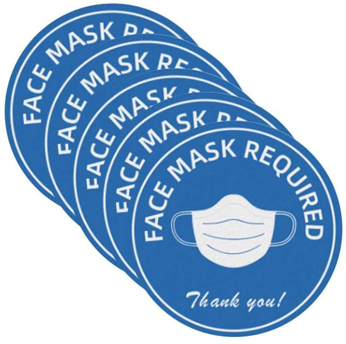 5 PCS Face Mask Required Sign,Please WEAR A FACE MASK Sign for Grocery Stores, Dr. Offices, Hospitals, Business, Adhesive Vinyl, Blue, Waterproof, Abrasion Resistant (Round)