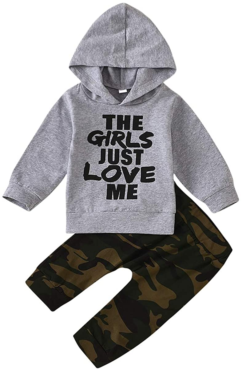 Teblacker Toddler Baby Boy Outfits Long Sleeve Funny Hoodie and Camouflage Pants Outfits Set