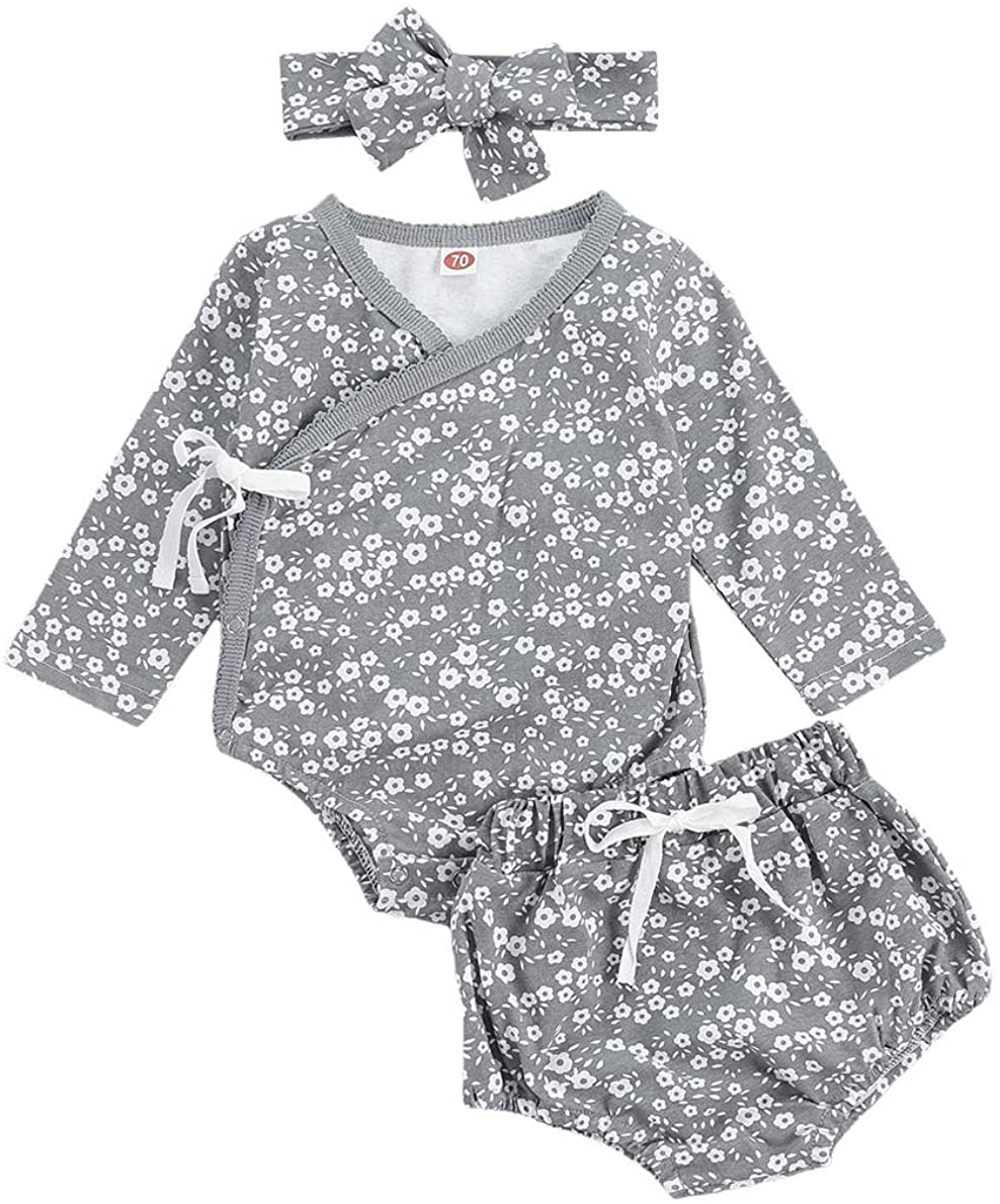 Infant Baby Girl Daisy Floral Print Side-Snap Romper Long Sleeve Bodysuit Drawstring Shorts Headband Set Fall Outfits