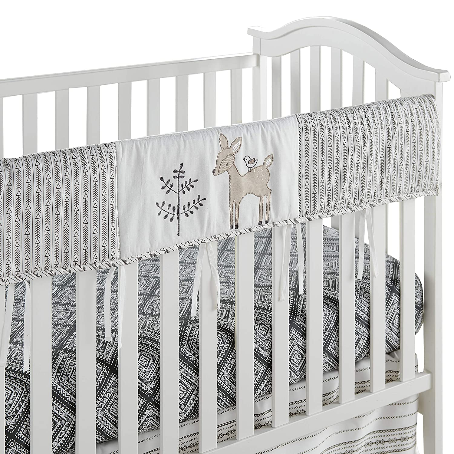Levtex Baby Bailey Rail Guard, Cotton, Taupe, Charcoal, White