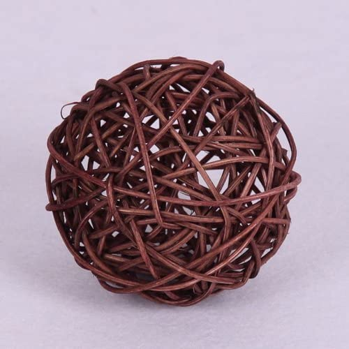 Worldoor 20pcs Wicker Rattan Decorative Balls Table Wedding Party Christmas Season Home Decoration (Brown, Diameter 1.2 Inch)