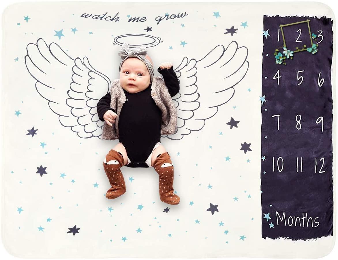 Yunnyp Baby Photo Carpet Fleece Blankets,Newborn Baby Fleece Letter Milestone Blankets Photography Rug Photos Props Mats