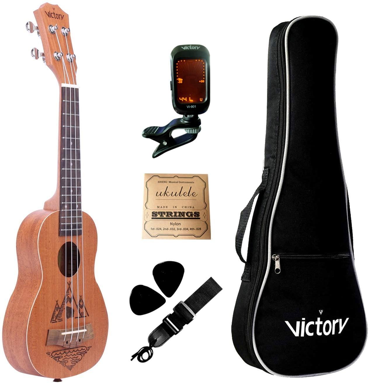 VIVICTORY Folk Art Soprano Ukulele 21 Inch, Mahogany Body, Aquila Strings with Beginner Kit : Tuner, Gig Bag, Straps, Picks and Nylon String (Soprano Ukulele 21