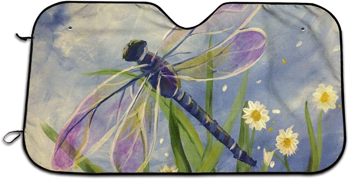 ELPAEL Floral Dragonfly Car Windshield Sun Shade Universal Fit Car Sunshade-Keep Your Vehicle Cool UV Sun and Heat Reflector