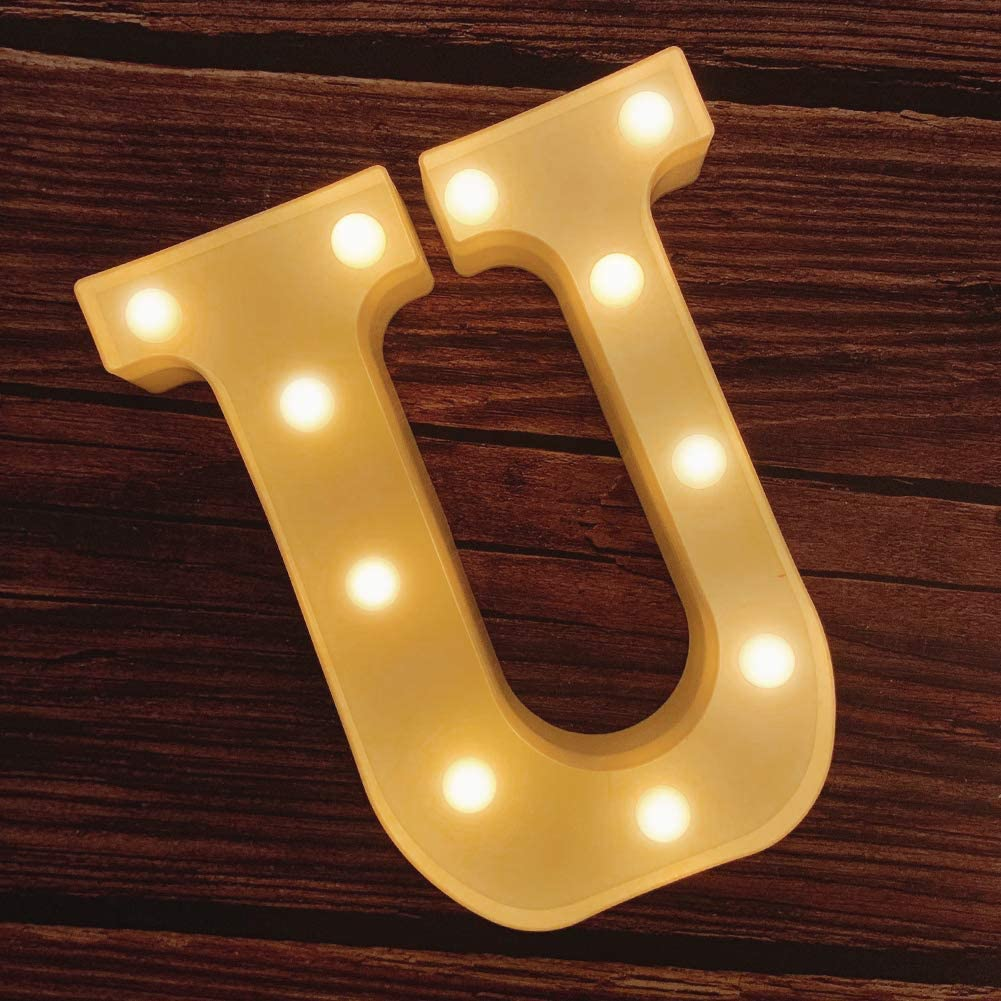 MUMUXI LED Marquee Letter Lights 26 Alphabet Light Up Marquee Number Letters Sign for Wedding Birthday Party Battery Powered Christmas Lamp Night Light Home Bar Decoration (U)