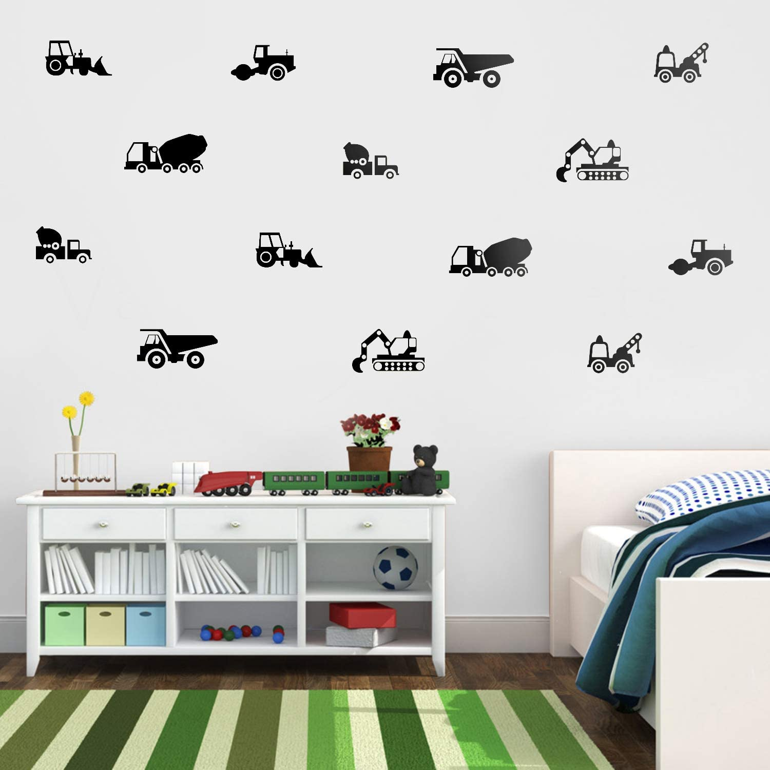 Set of 14 Vinyl Wall Art Decals - Construction Vehicles - from 3