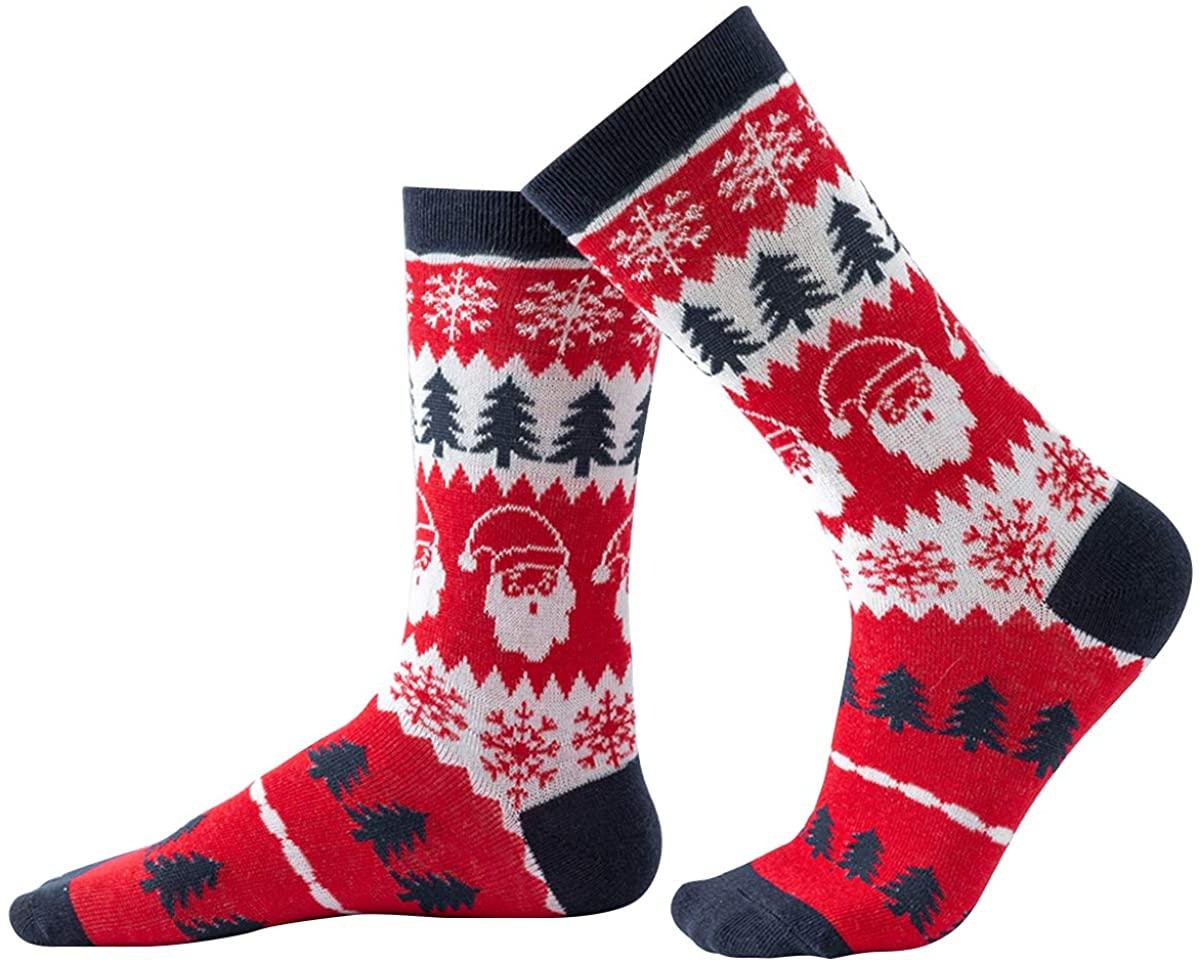 Christmas Socks Parent Child Xmas Holiday Tree Snowflake Socks Combed Cotton Socks 1 Pair (for Adults)